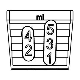 Pohár 5 ml s mierkou 1-2-3-4-5 ml a 1.25-2.5 ml