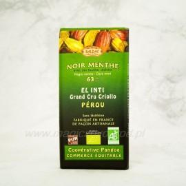 Horká čokoláda 63% čokoláda s mätou (olej+list) Bio 100g