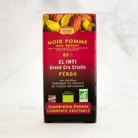 Horká čokoláda 63% s jablkom a škoricou, Bio 100g