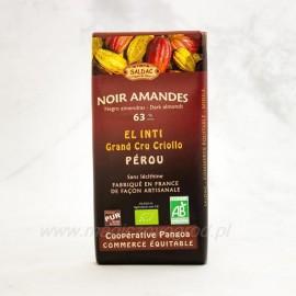 Horká čokoláda 63% s mandľami Bio 100g