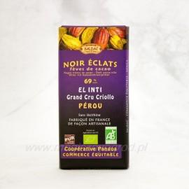 Horká čokoláda 69% s kúskami orechov Bio 100 g